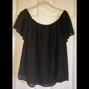 NWOT black Colleen Lopez layered top.